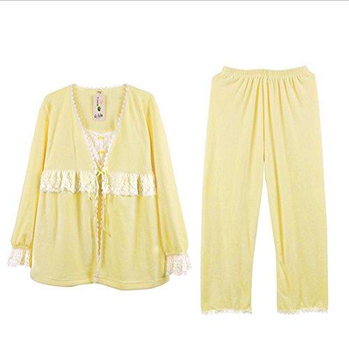 DMMSS Caldo velluto dolce pigiama set tre pezzi pigiameria Set di donne , yellow ,