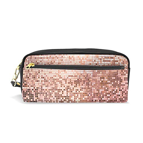 (Pencil Case Large Capacity PU Leather Pen Bag Makeup Pouch Wallet Zipper Stationery Supplies Boys Girls Teenagers Women Pink Rose Gold Mosaic Tiles)