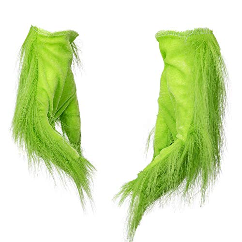 Green Grinch Gloves Christmas Santa Costume Hand Gloves with Soft Fur (Grinch Suit)