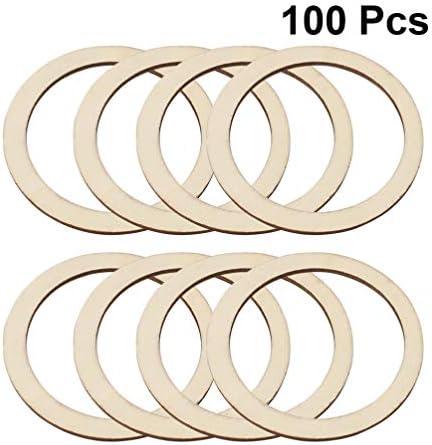 Healifty 100ピースレーザーカット木材装飾中空アウト木製サークル形状ラウンド木製ディスク未完成木材切り抜き用アートクラ