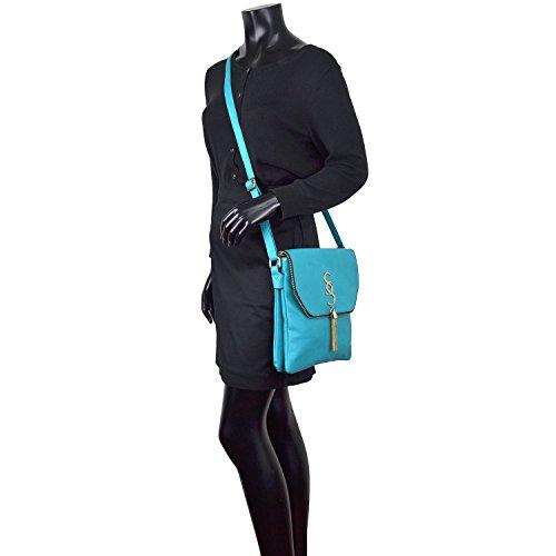 Purse Ladies Bag Multi Shoulder Messenger Bag Pockets Small Women blue Leather Faux Clutch 2235 Lightweight Crossbody qSxdc4wRt