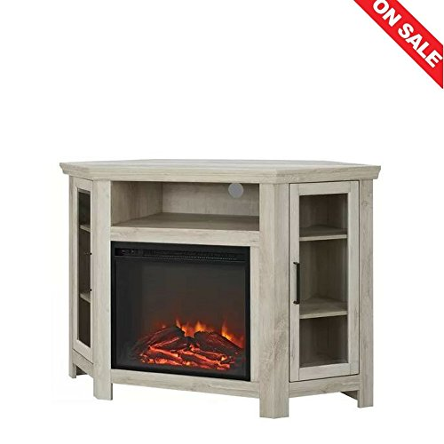 Electric Fireplace TV Stand Table Shelves Vertical Media Storage Rustic Unique Design Minimal Decor Indoor House Entertainment Center Furniture & E book Easy 2 Find. ()