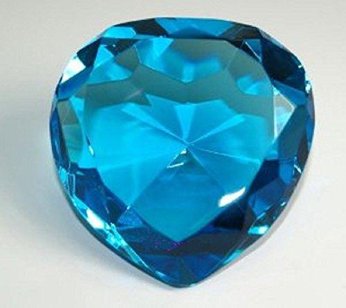 Diamond Jewel Paperweight 80mm Blue Heart Shaped Cut
