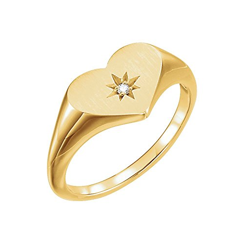 14kt Yellow .01 CTW Diamond Heart Signet Ring - Ladies 14kt Gold Signet Ring