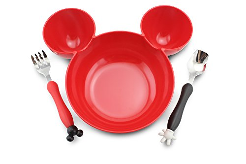 Finex Mickey Mouse Head Shape BPA free Plastic Bowl with spoon and fork set (Red)]()