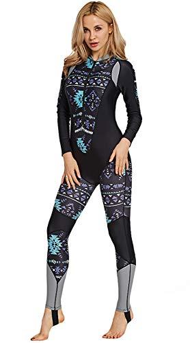 - Women Full Body Swimwear Quick Drying Sun Protective Foot Stirrups Long Sleeve Swimsuit Black S