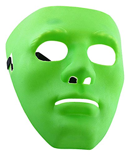 Maze Simple Green Blue Or White Neutral Expression Full Face Plastic Mask, Green One Size ()