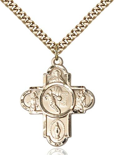 14K Gold Filled Five-Way Basketball Sports Athlete Medal, 1 Inch 14kt 5 Way Medal