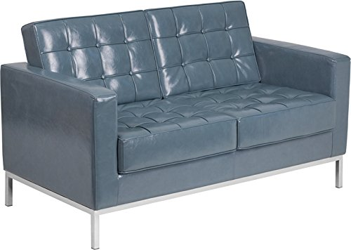 Lacey Series Contemporary Gray Leather Loveseat with Stainless Steel Frame (Leather Steel Loveseat)