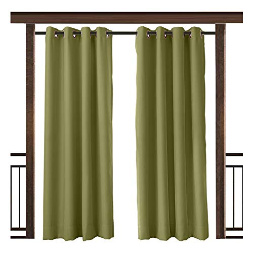 TWOPAGES Outdoor Curtain Waterproof Rustproof Grommet Drape Green 84 W x 84 L Inch, for Front Porch Pergola Cabana Covered Patio Gazebo Dock Beach Home (1 - Outdoor Green Curtain