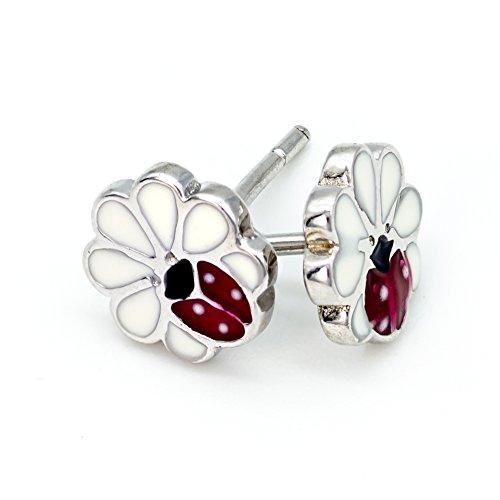 Solid 925 Stering Silver enamel Cute Daisy flower Stud Earrings For Girls Teens women - Daisy Flower with Ladybug