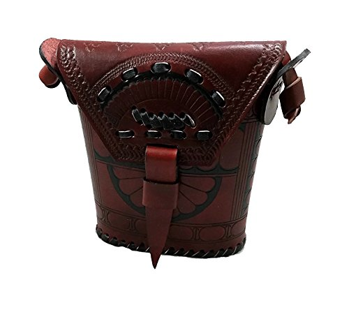 12 Inches Dark Brown Leather Embossed African Maasai Masai Purse/Basket/Handbag by MazuriYako