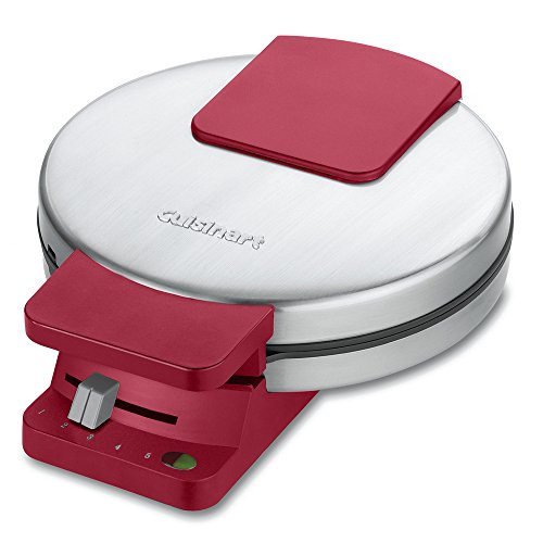 Cuisinart WMR-CAR Round Classic Waffle Maker, Stainless Steel/Red
