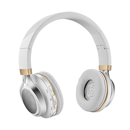 Aita Bluetooth Headphones On Ear Foldable Wireless headphones with FM radio, Microphone, TF Card Reader and LED lights, Soft Memory-Protein Earmuffs (White)