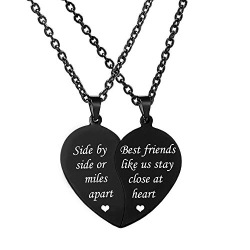 MJartoria Best Friend Necklaces BFF Necklace for 2-Split Valentine Heart Together Forever Never Apart Best Friends Pendant Friendship Necklace Set of 2 Inspirational Gift (Z-Side by Side-Black)