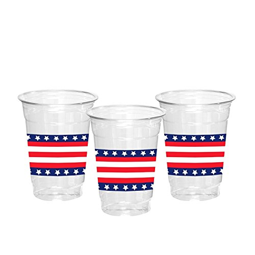 Party Essentials N162052 20Count Soft Plastic 16 oz Printed Party Cups, Stars & Stripes, (Printed Plastic Cups)
