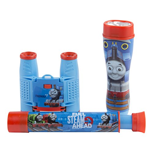 (Thomas and Friends 3-Piece Adventure Kit with Binoculars, Flashlight, Telescope, Thomas The Train Inspired Design, 35mm Camera, 4x28 Thomas The Train Inspired Binoculars, 3 Piece, Blue)
