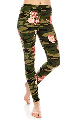 ALWAYS Women Premium Camo Leggings - Buttery Soft Stretch Floral Military Army Print One Size