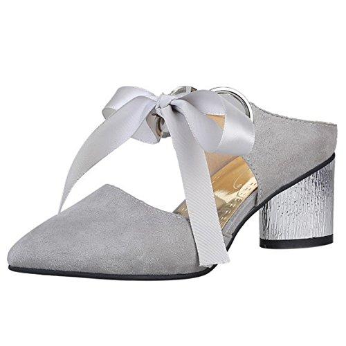 COOLCEPT Mujer Moda Tacon Medio Ancho Mary Janes Sandalias Mulas Cerrado Talon Abierto Zapatos Gris