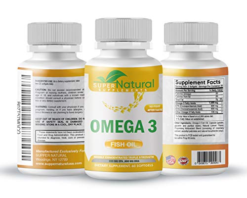 Omega-3 Fish Oil – Triple Strength – 1500 Mg Omega3 Fatty Acids – 600 Mg DHA 800 Mg EPA – No Fishy Aftertaste – Pharmaceutical Grade Fish Oil – (60 Softgels Omega 3) by Super Natural Supplements