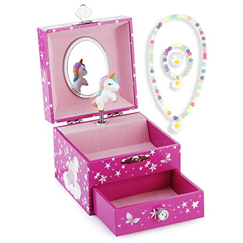 (RR ROUND RICH DESIGN Kids Musical Jewelry Box for Girls with Drawer and Jewelry Set with Lovely Unicorn Theme - Swan Lake Tune Rose Red)
