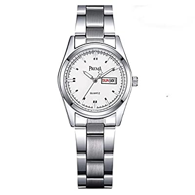 Fashion Womens White Stainless Steel Casual Wrist Watches For Ladies Wristwatch
