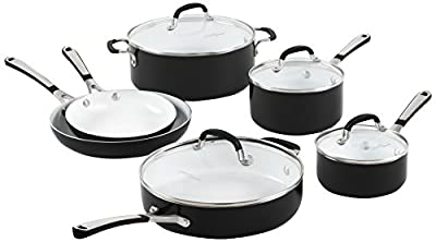 Calphalon 1913160 Simply Ceramic Nonstick 10-Piece Cookware Set, Black