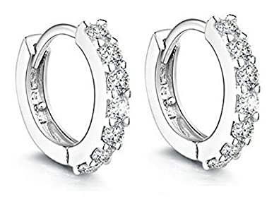 ec91850fb Image Unavailable. Image not available for. Color: Women Jewelry 925 Round Hoop  Earrings Diamond Rhinestones Sterling Silver ...