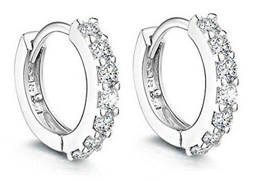 Women Jewelry 925 Round Hoop Earrings Diamond Rhinestones Sterling Silver Earrings Studs Set from Shopcentre