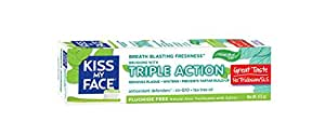 Kiss My Face Triple Action Gel Toothpaste, Fluoride Free Toothpaste, 4.5 Ounce