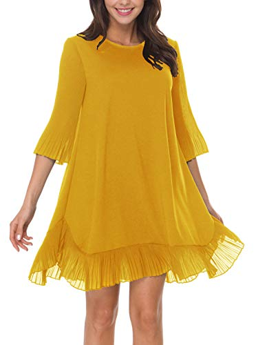 (Ruffle Dresses for Women Casual Sun Cute Loose Flowy Mini Swing Pleated Ruffle Bottom Bell 3/4 Slevee Cocktail Party Short Spring Summer Wedding Guest Dress Yellow M)