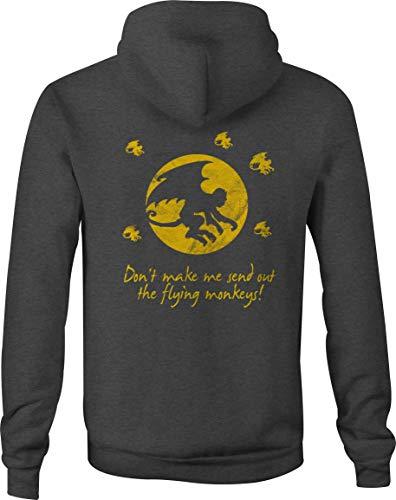 Flying Monkeys Hooded Sweatshirt - Zip Up Hoodie Flying Monkeys - Wizard of OZ Funny Revenge - 2XL Gray