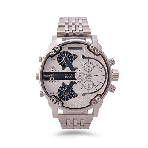 Yaki Quarz-Sportarmbanduhr für Herren, Markenuhren Edelstahl Uhr, weiß großes Zifferblatt, mit zwei Zeitzonen