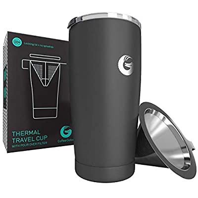 Coffee Gator Pour Over Cups - Thermal Travel Mug with Hand Drip Filter - 20 ounce