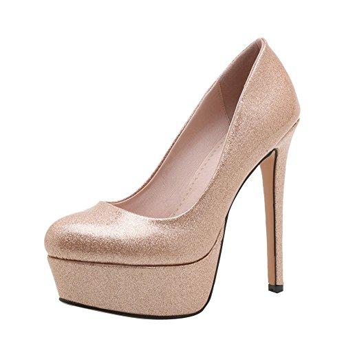 Mee Shoes Damen High Heels mit Spitzen Plateau Pumps (34, Pink)