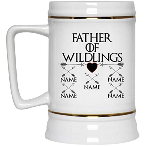 Custom Personalized Game of Thrones Beer Mug Father of Wildlings Stein 22 oz White Ceramic Cup Great for Hot Chocolate and Tea Perfect Gift for any Dad and GOT Fan ()