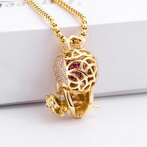 Karseer Faithful Love & Rose Skull Pendant Necklace with Crystal Brain Hidden Inside, Infinite Fantasy Gift for Men and Women (Gold) by Karseer (Image #4)