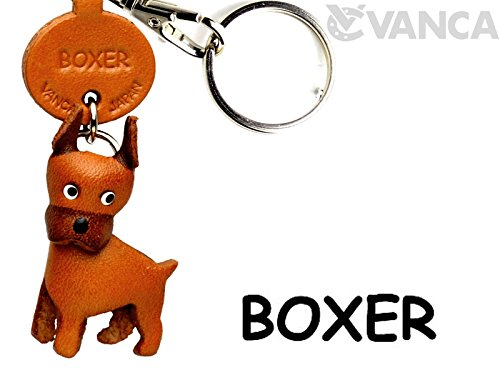 Dog Leather Keychains (Boxer Leather Dog Small Keychain VANCA CRAFT-Collectible Keyring Charm Pendant Made in Japan)