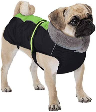 Warm Dog Coat Windproof Dog Winter Jacket, Cozy Waterproof Dog Clothes with Furry Collar for Cold Weather, Reflective Thicken Fleece Lining Pet Outfit Adjustable Pet Vest Apparel for Small Medium Dog