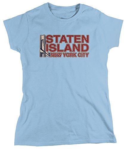 Amdesco Women's Staten Island New York City T-shirt, Light Blue Small (City Womens T-shirt Light)