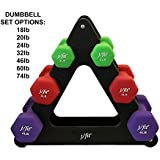 j/fit Dumbbell Set w/Durable Rack | Solid Design | Double Neoprene Coated Workout Weights Non-Chip and Flake | Dumbbells Sets For Gyms, Pilates, MMA, Training (18lb Set)