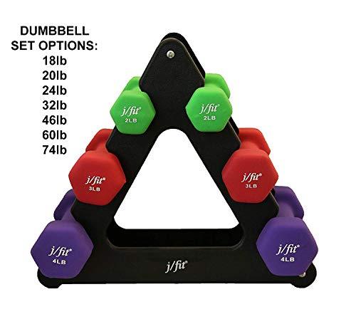 j/fit Dumbbell Set w/Durable Rack | Solid Design | Double Neoprene...
