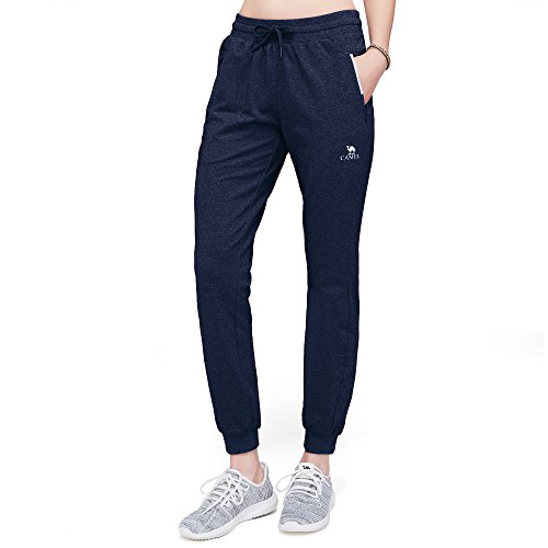 CAMEL CROWN Women's Jogger Pants Soft Cotton Pocket Sweatpants with Drawstring Running Leggings Navy Blue M