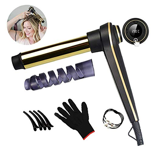 Curling Iron Wand,1.25 Inch Ceramic Tourmaline Smart Memory Hair Curler with 0-20s Timer Function for All Hair Types with Anti-Scalding Insulated Tip,Heat Resistant Glove and Hair Clips