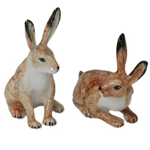 2 Rabbit Bunny Hare Miniature Animal Ceramic Pottery Statue Handmade Figurine
