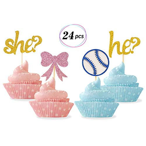Gender Reveal Cupcake Toppers Baseballs or Bows Cupcake Toppers for Boy or Girl He or She Baby Shower Party Decorations Set of 24