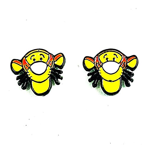 1 Pair of Disney's Inspired Winnie The Pooh Tigger Head Metal Enamel Stud Earrings Great Gift (Tigger Head)