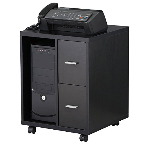 Cpu Storage (Topeakmart Mobile Computer CPU Caddy Stand Cart Cabinet Table 2 Drawer on)