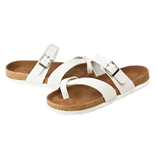 SODIAL(R) Neue Korken flache Schuhe Sandalen Sommer Flip Flops Unisex laessig Pantoffeln Schuhe Groesse 7 Weiss