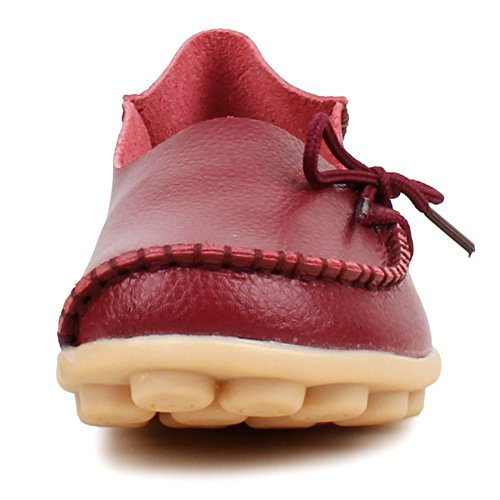 Women's Leather Cowhide Slip Burgundy ONS Loafers Shoes 1 Flat Sty Fangsto Slipper Bwddq